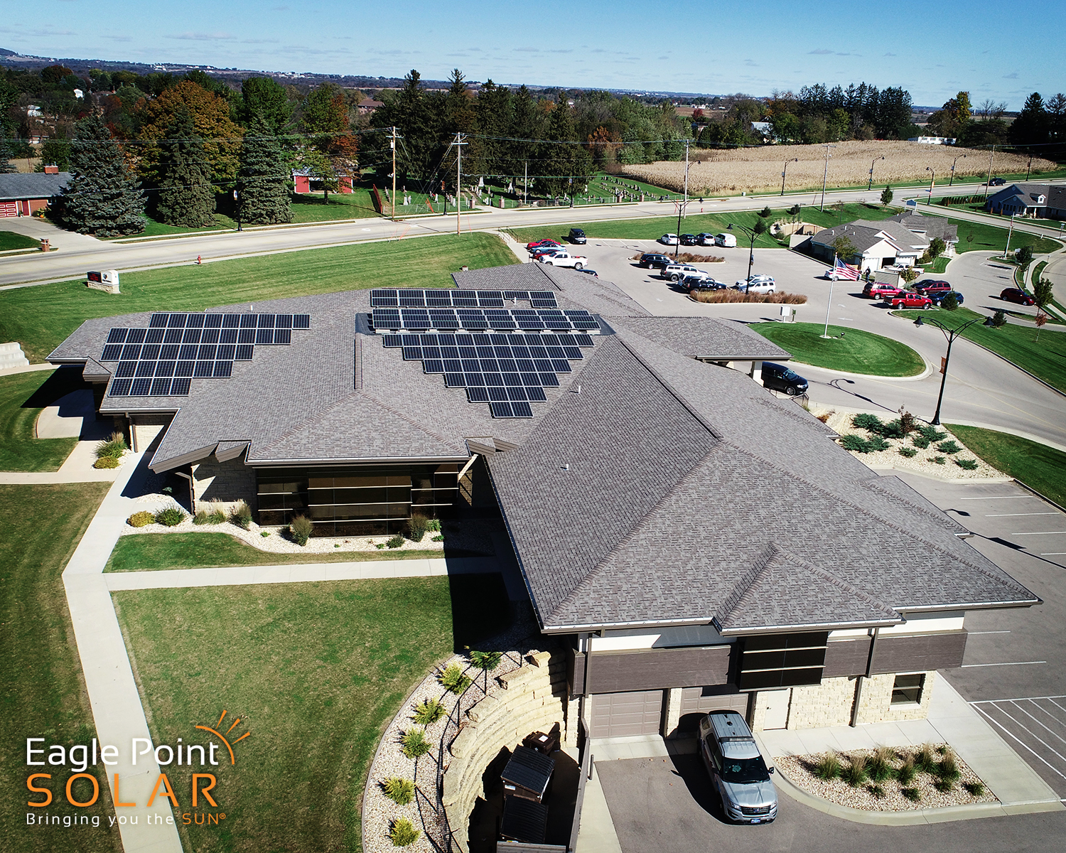 Arial photo of City of Asbury City Hall roof mounted solar array.