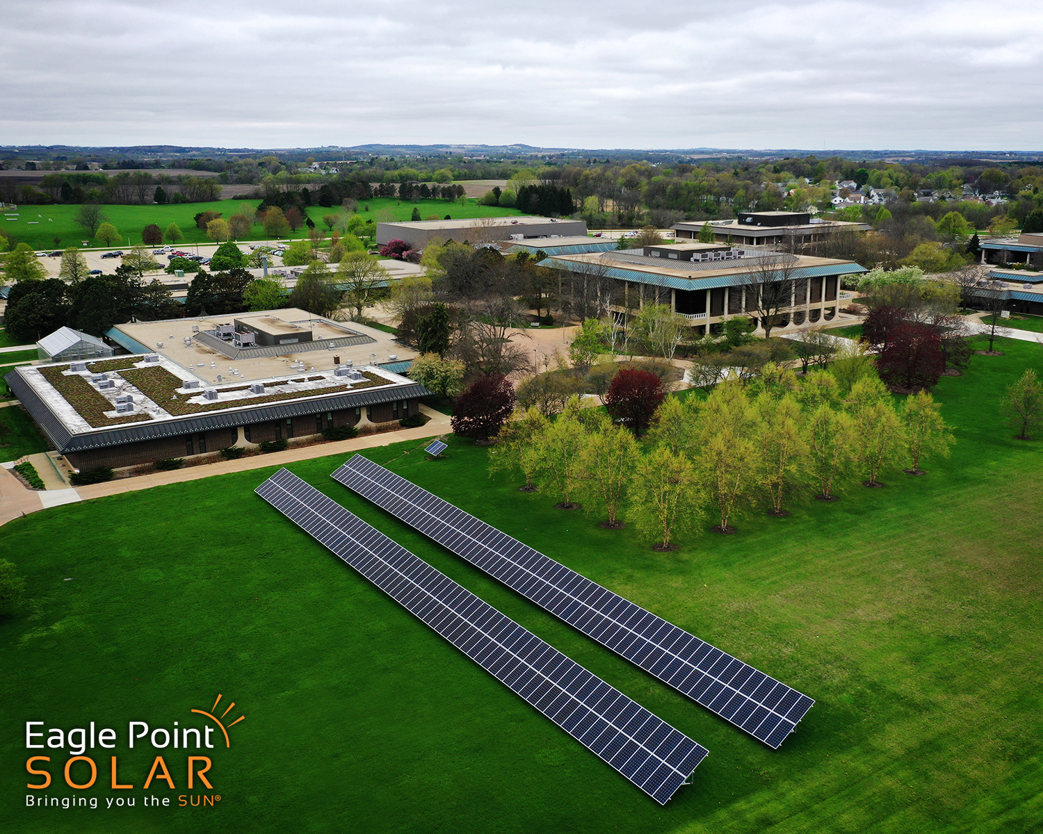 Photo of a ground mounted solar array