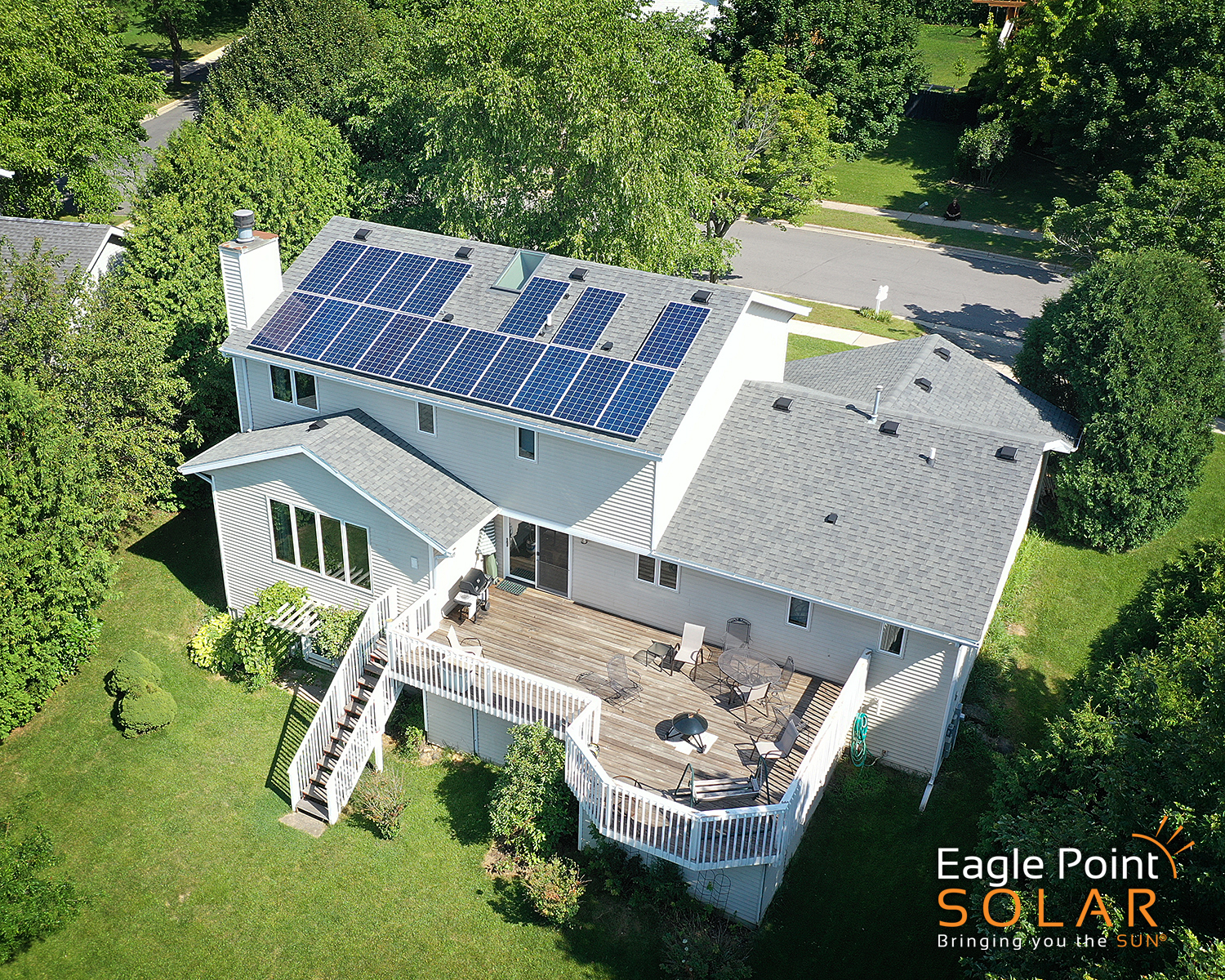 Arial photo of Kosbau residence roof mounted solar array.