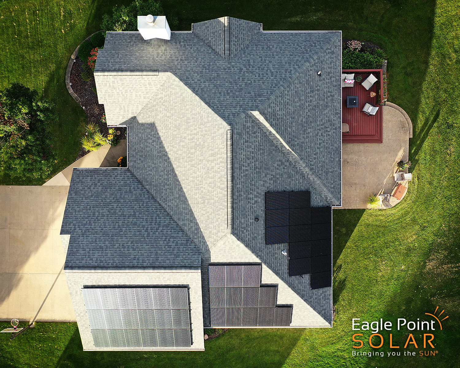 Arial photo of Ambrosy residence roof mounted solar array.