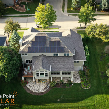 Arial photo of Hortsman residence roof mounted solar array.