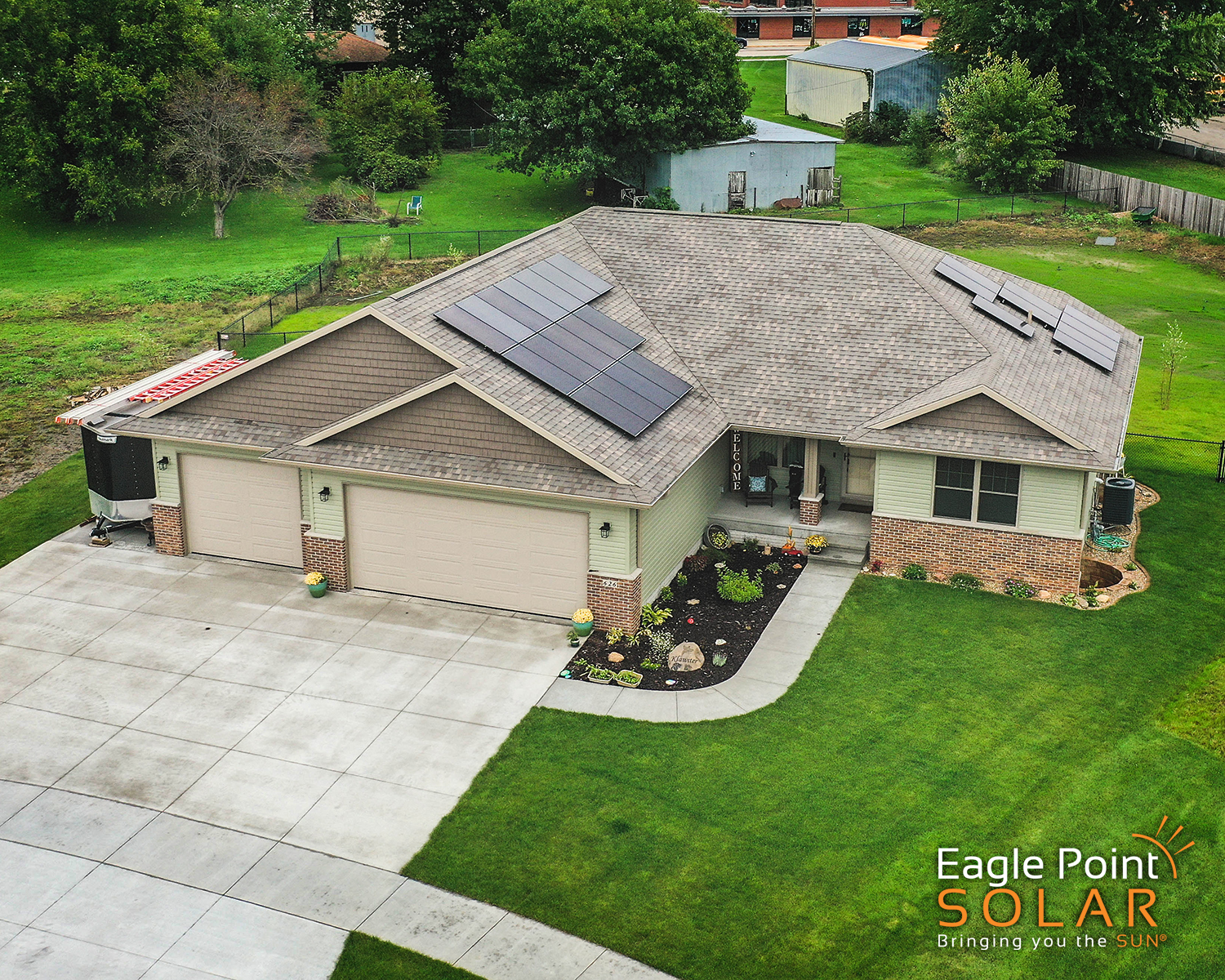 Arial photo of Klawiter residence roof mounted solar array.