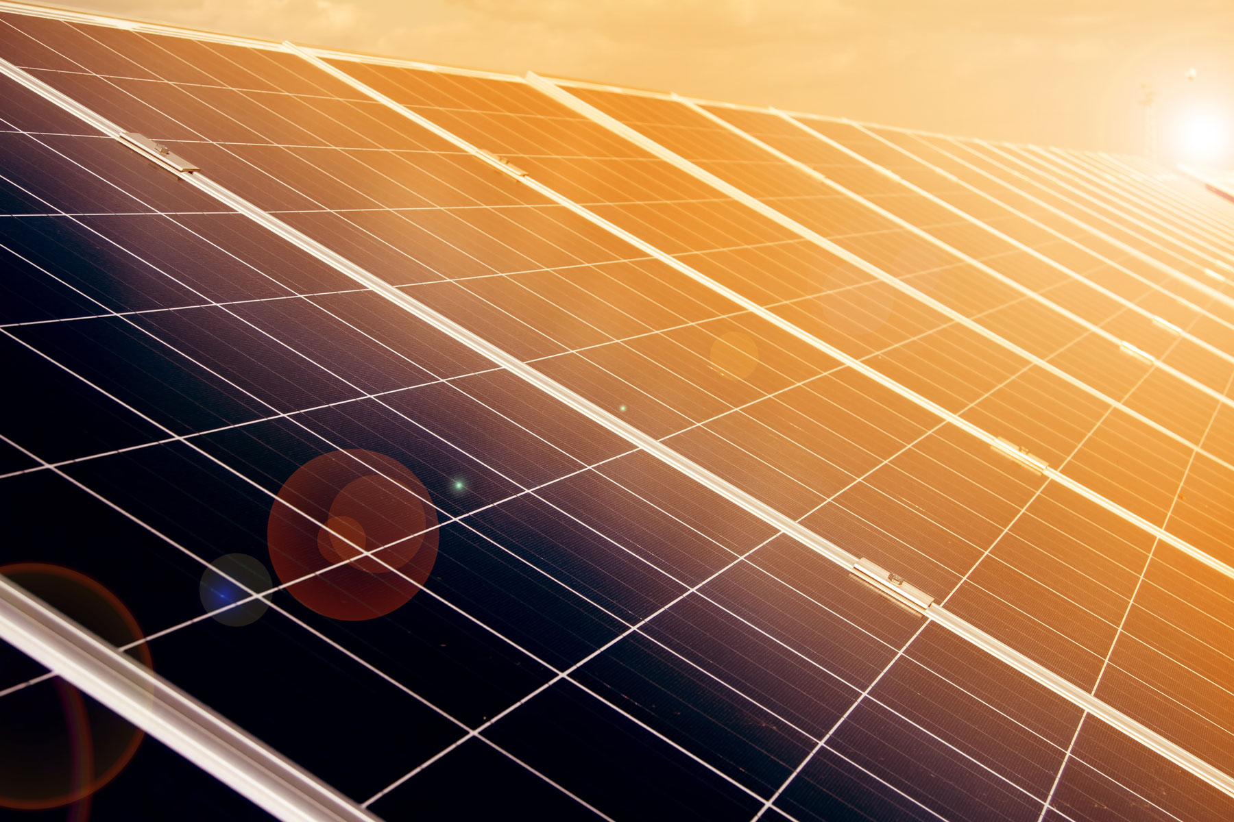 Close up image of solar panels